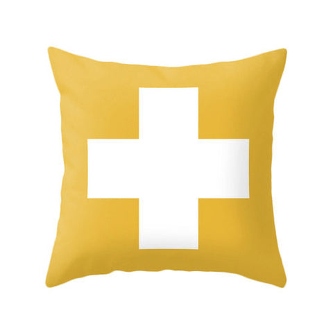 Yellow Swiss cross pillow - Latte Design  - 1