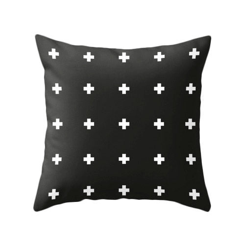Black and white Swiss cross pillow - Latte Design  - 2