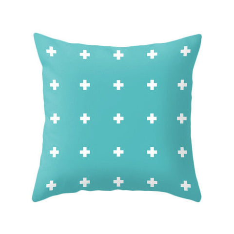Turquoise Swiss cross pillow - Latte Design  - 1