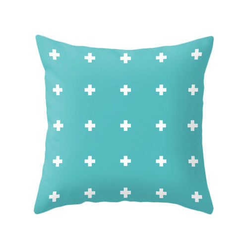 Black and white Swiss cross pillow - Latte Design  - 4