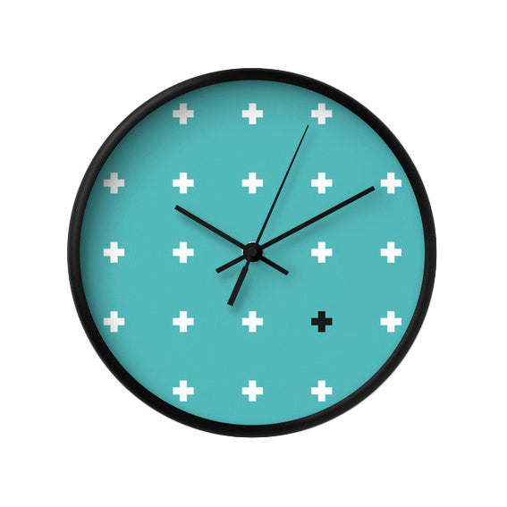 Teal Swiss Cross wall clock - Latte Design  - 1