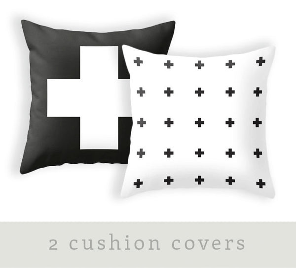 TWO combined cross pillow covers. Black and white crosses pillow black and white cushion black and white pillow cross cushion cross throw - Latte Design  - 1