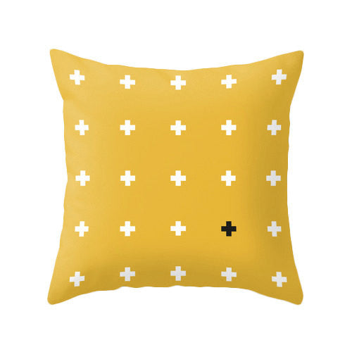 Yellow Swiss cross pillow - Latte Design  - 3