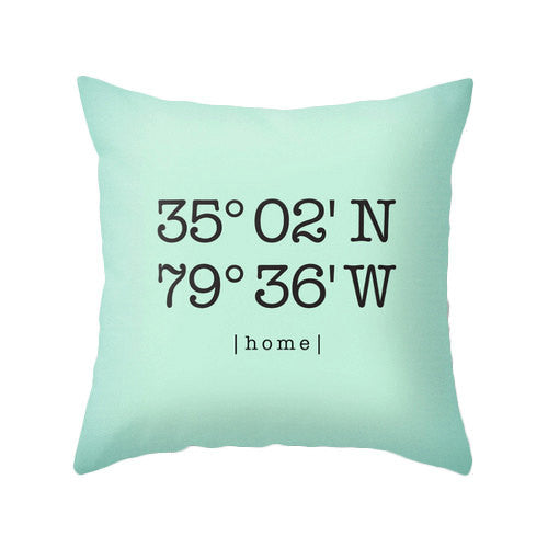 Custom coordinates pillow Personalized cushion cover housewarming gift latitude and longitude pillow coral wedding gift home location - Latte Design  - 4