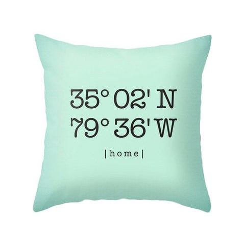 Mint Custom longitude and latitude pillow - Latte Design  - 1