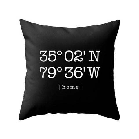 Black Custom home location pillow - Latte Design  - 1