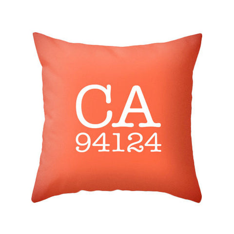 Custom zip code pillow. Coral red pillow - Latte Design  - 1