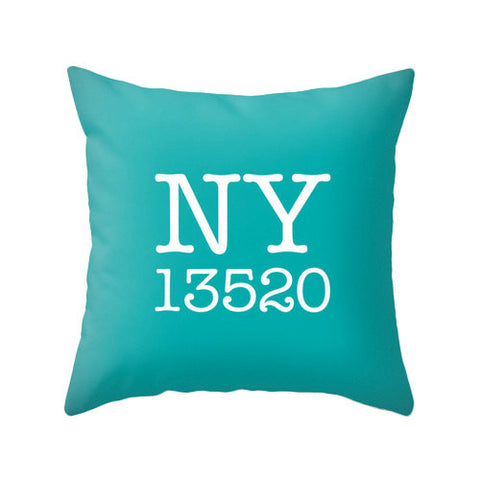 Custom zip code pillow. Teal pillow - Latte Design  - 1
