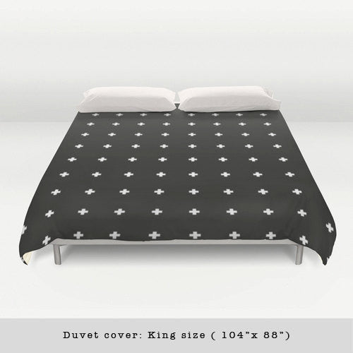 Swiss cross black and white duvet cover - Latte Design  - 3