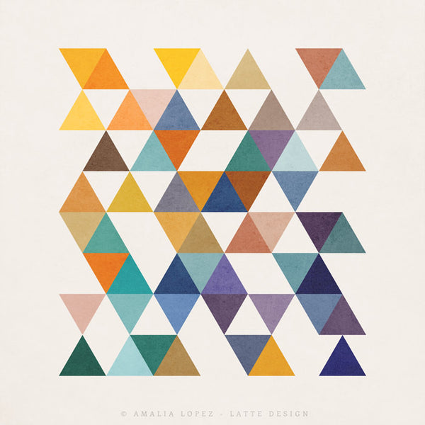 Triangles 2. Mid-century Geometric print - Latte Design  - 4