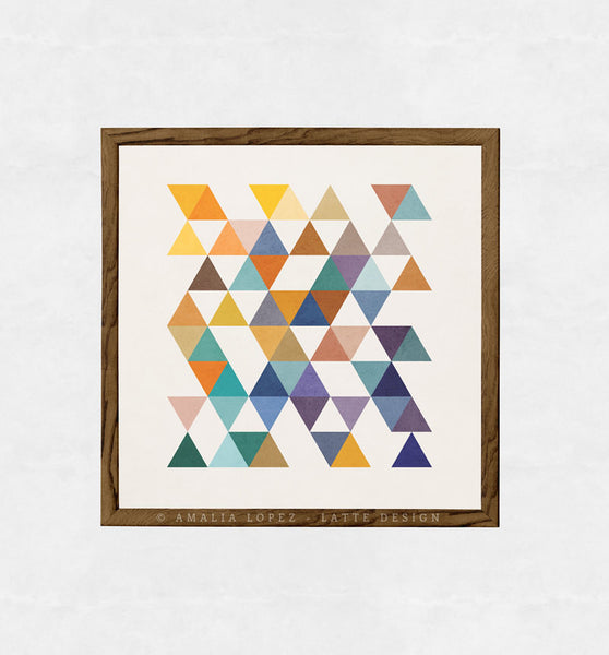 Triangles 2. Mid-century Geometric print - Latte Design  - 2