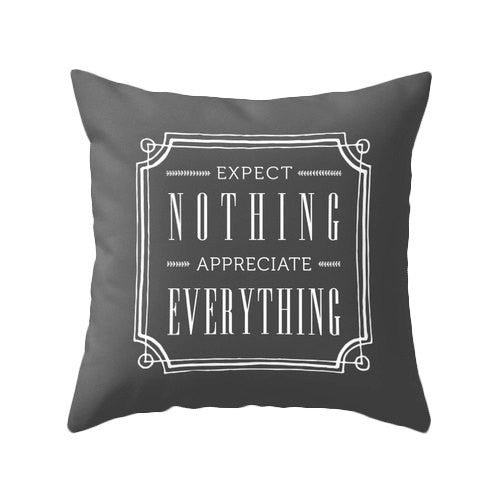 Expect nothing appreciate everything blue pillow - Latte Design  - 3