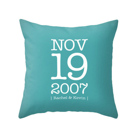 Custom Anniversary cushion. Turquoise cushion - Latte Design