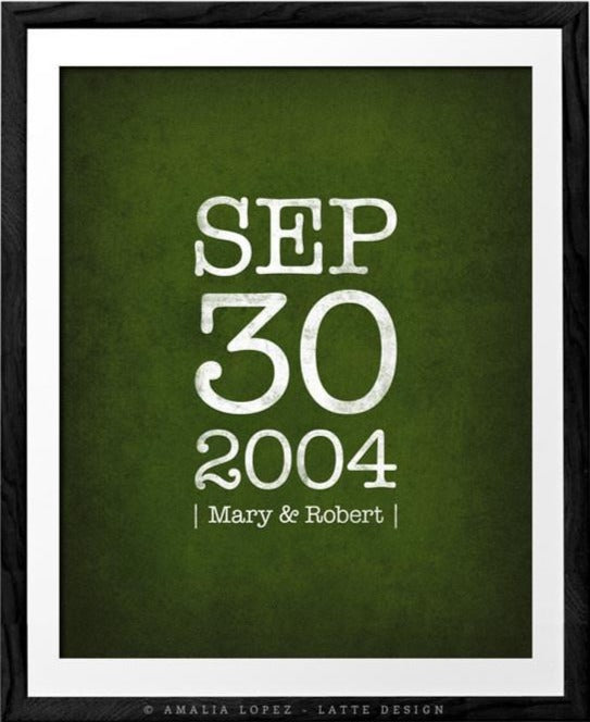 Custom Anniversary gift. Forest green print - Latte Design  - 1