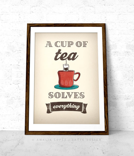 A cup of tea solves everything. Red kitchen print - Latte Design  - 3