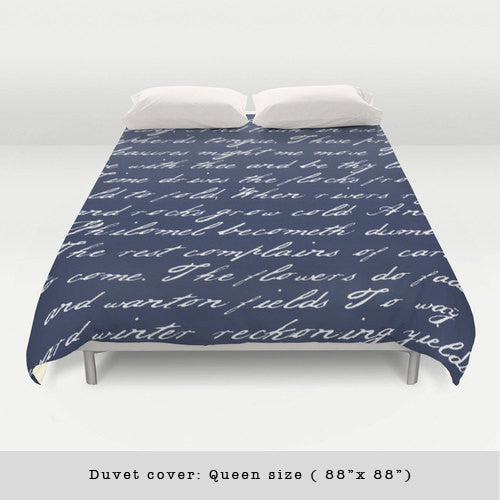 Navy blue handwriting poem duvet cover. Navy blue and white bedding Typography duvet cover Navy blue bedding Blue and white duvet Blue duvet - Latte Design  - 2