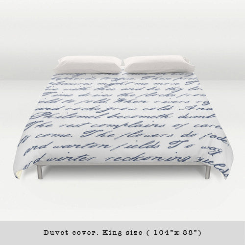 Navy blue handwriting poem duvet cover. Navy blue and white bedding Typography duvet cover Navy blue bedding Blue and white duvet Blue duvet - Latte Design  - 3