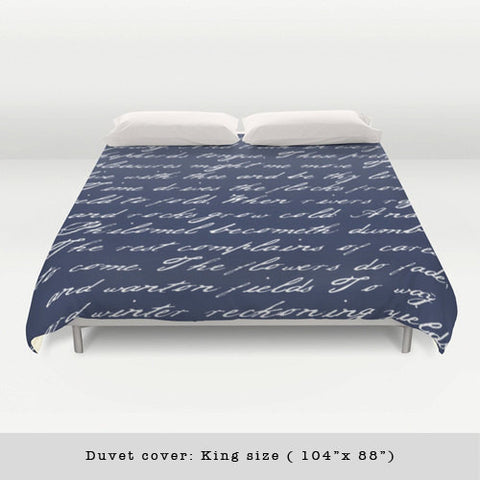 Navy blue handwriting poem duvet cover. Navy blue and white bedding Typography duvet cover Navy blue bedding Blue and white duvet Blue duvet - Latte Design  - 1