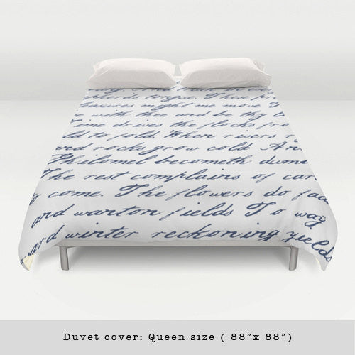 Navy blue handwriting poem duvet cover. Navy blue and white bedding Typography duvet cover Navy blue bedding Blue and white duvet Blue duvet - Latte Design  - 4