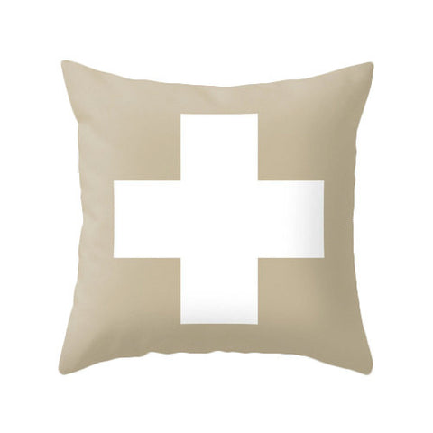 Beige Swiss Cross pillow - Latte Design  - 1