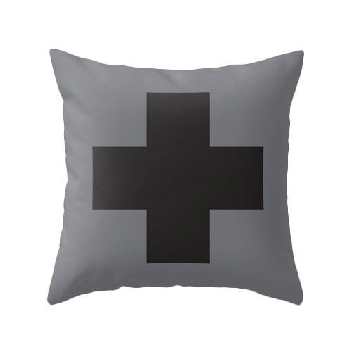 Grey and black Swiss Cross pillow - Latte Design  - 3