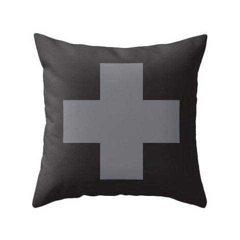 Grey and black Swiss Cross pillow - Latte Design  - 1