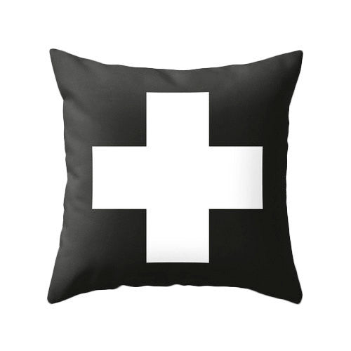 Grey and black Swiss Cross pillow - Latte Design  - 2