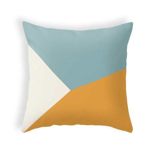 Teal and orange geometric cushion - Latte Design