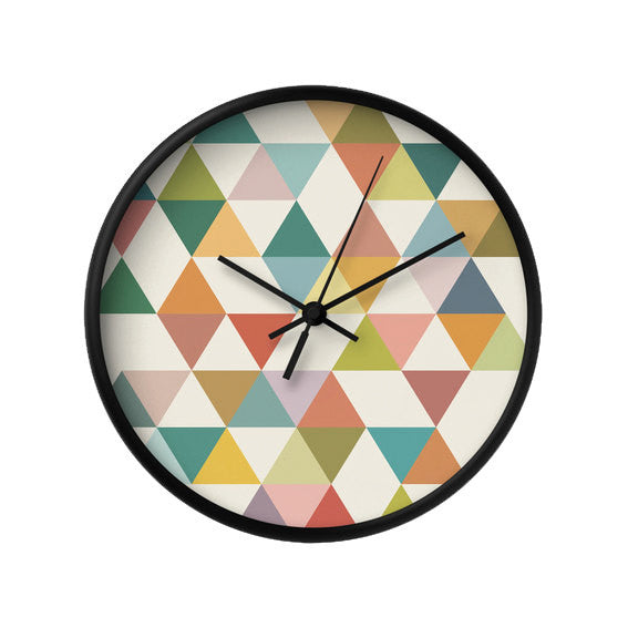 Triangles 3. Geometric wall clock - Latte Design  - 2