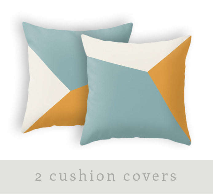 SET of 2 teal and orange geometric pillows - Latte Design  - 1