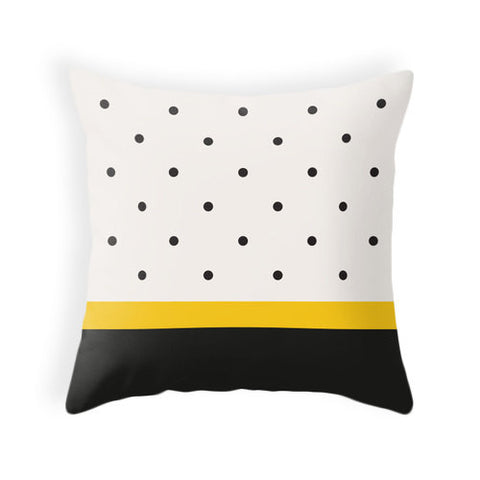 Black and yellow polka dot pillow - Latte Design  - 1