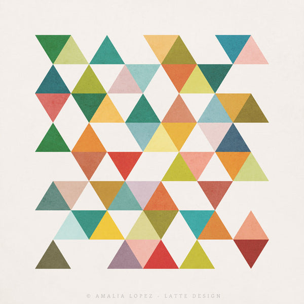 Triangles 3. Mid-century Geometric print - Latte Design  - 4