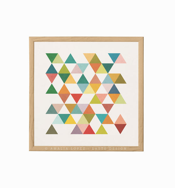 Triangles 3. Mid-century Geometric print - Latte Design  - 3