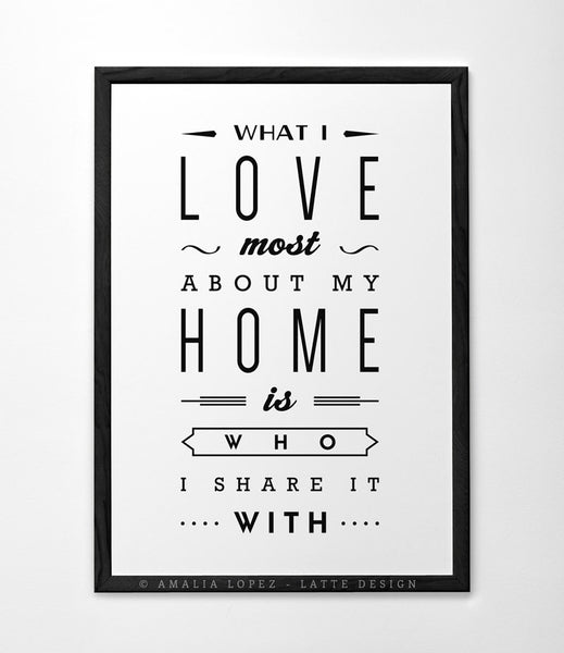 Love print What I love most about my home Typography poster Love poster San Valentine print love print Gift for him Anniversary gift - Latte Design  - 2