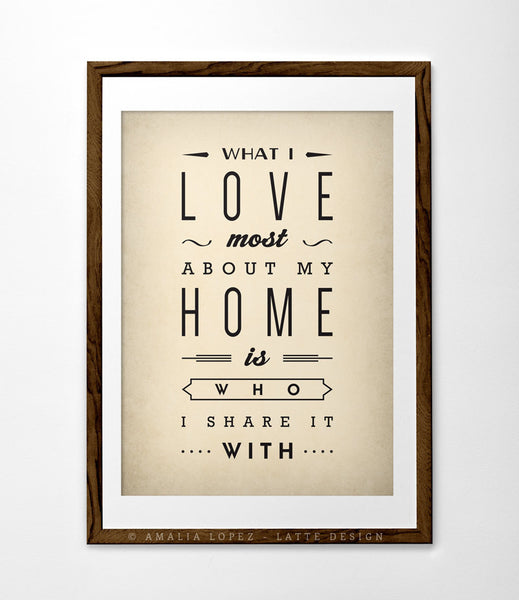 Love print What I love most about my home Typography poster Love poster San Valentine print love print Gift for him Anniversary gift - Latte Design  - 1