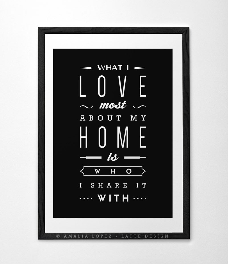 Love print What I love most about my home Typography poster Love poster San Valentine print love print Gift for him Anniversary gift