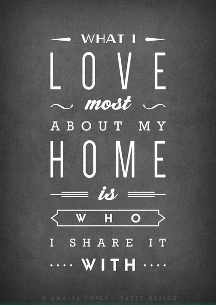 What I love most about my home is who I share it with. Mint print - Latte Design  - 5