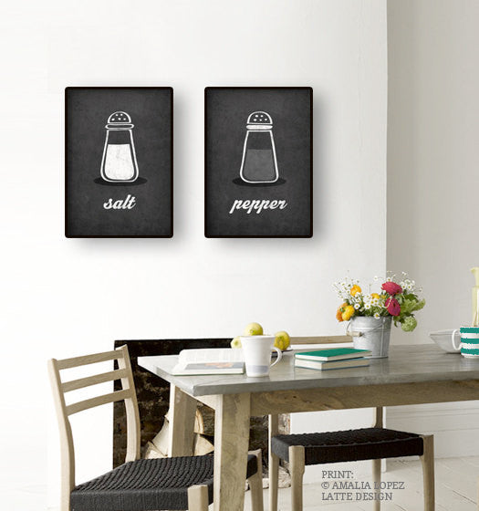 Salt and pepper SET of TWO kitchen prints salt print salt poster grey kitchen decor grey kitchen wall art grey print grey kitchen print - Latte Design  - 2