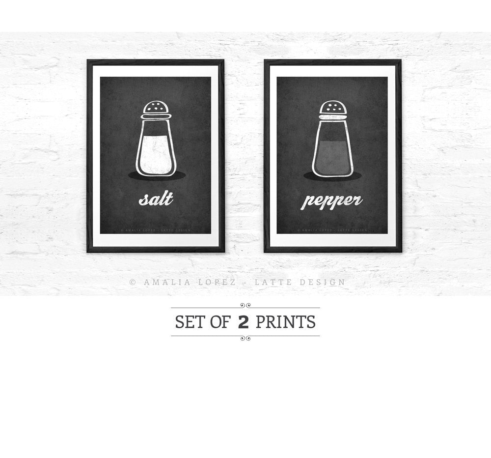Salt and pepper SET of TWO kitchen prints salt print salt poster grey kitchen decor grey kitchen wall art grey print grey kitchen print - Latte Design  - 1
