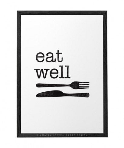 But first coffee and Eat well. Set of TWO kitchen prints - Latte Design  - 4