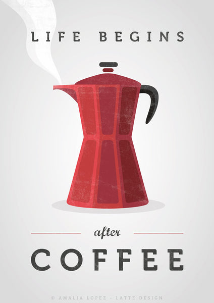 Life begins after coffee print. Red kitchen print - Latte Design  - 4