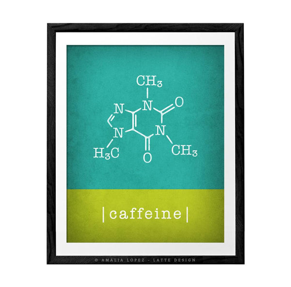 Caffeine molecule print. Red Coffee print - Latte Design  - 4