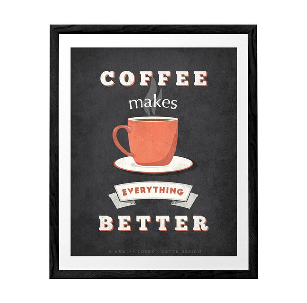 Coffee makes everything better. Coffee print mint print retro print typography print Coffee poster Coffee quote print vintage Kitchen art - Latte Design  - 3