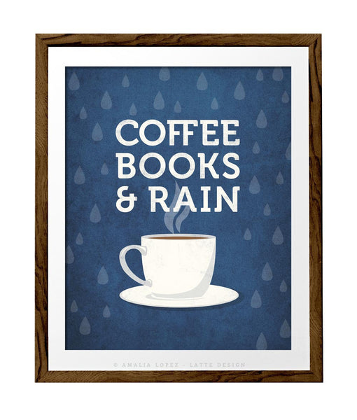 Coffee books and rain. Blue Coffee print - Latte Design  - 1