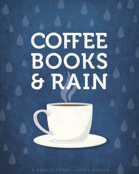 Coffee books and rain. Blue Coffee print - Latte Design  - 3