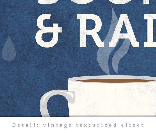 Coffee books and rain. Blue Coffee print - Latte Design  - 4