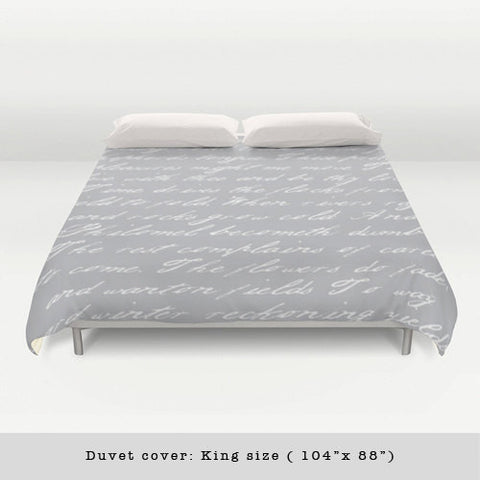 Grey and white handwriting poem duvet cover - Latte Design  - 1