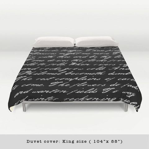 Black and white handwriting poem duvet cover - Latte Design  - 1