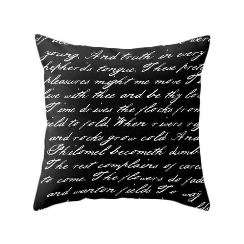 Black and white handwriting poem pillow - Latte Design  - 2