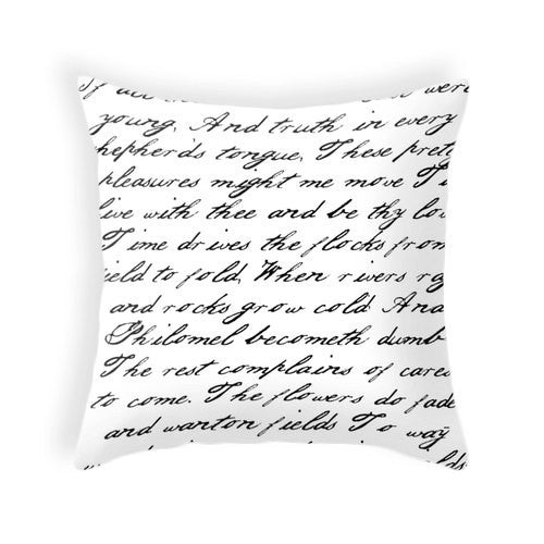 Black and white handwriting poem pillow - Latte Design  - 1